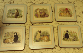 Vintage Set of Six PIMPERNEL Cork CAT THEMED Coasters Made in England - $9.99