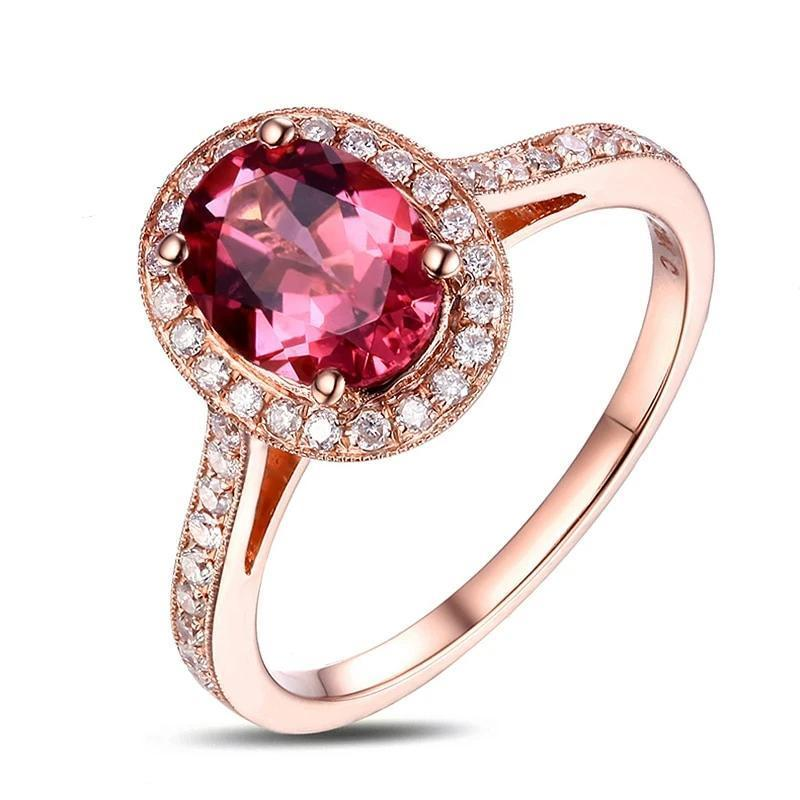 14K Solid Rose Gold Ring with Authentic Healing 1.26ct Tourmaline and Natural Di - $1,260.95