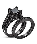 Princess Cut Black Diamond Womens Bridal Ring Set 14k Black Gold Over 92... - $94.99