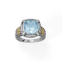 .925 Sterling Silver 14 Karat Gold Blue Topaz Women's Ring - $172.51