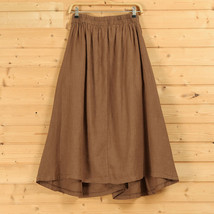 Women A Line Linen Skirt Ankle Length Linen Cotton Casual Skirt,Army Green Navy  image 5