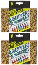 2 Sets of 8 Crayola 588618 Crayola Art with Edge Glitter Markers New in Box