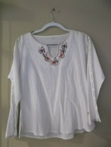 WOMENS WHITE COTTON FLORAL CUTOUT SLEEVES TUNIC BLOUSE SZ L - $13.85