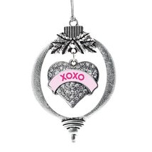 Inspired Silver XOXO Pink Candy Pave Heart Holiday Ornament - $14.69