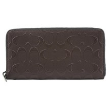 NWT COACH Men's Embossed Signature Leather Large Brown Wallet Zip Coin F... - $116.82