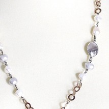 925 Silver Necklace, Baroque Pearls, Chain Rolo Pink worked, Oval Pendant image 2