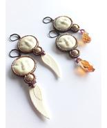 Moon Face Earrings, Moon Goddess, White Earrings, White Brown Earrings, ... - $36.00