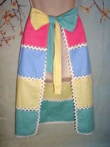 Antique Vtg 30s Handmade PeekaBoo Apron Multi Color Linen Wide Ric Rac T... - $14.99