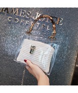 Vintage Bamboo Handles Women Handbags Clear Transparent Jelly Bags Woven... - $26.28