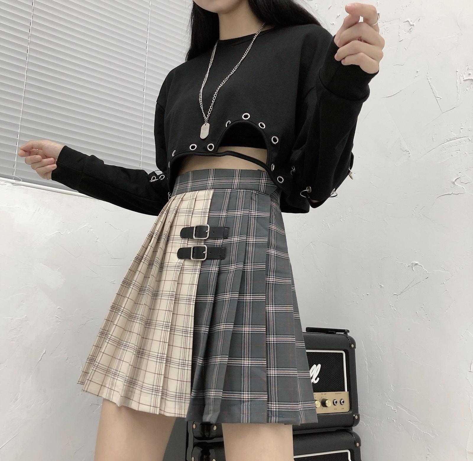 Black Navy Red Mini Plaid Skirt Women Street Style Pleated PLAID SKIRT Plus Size image 4