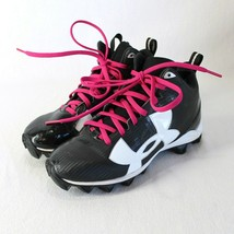 Under Armour High Top Cleats Youth Sz 2 Black White Pink Laces Football Shoes - $24.99