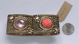 Erica Lyons Vintage-looking Golden Stretch Bracelet with Peach and Pink Insets - $9.90