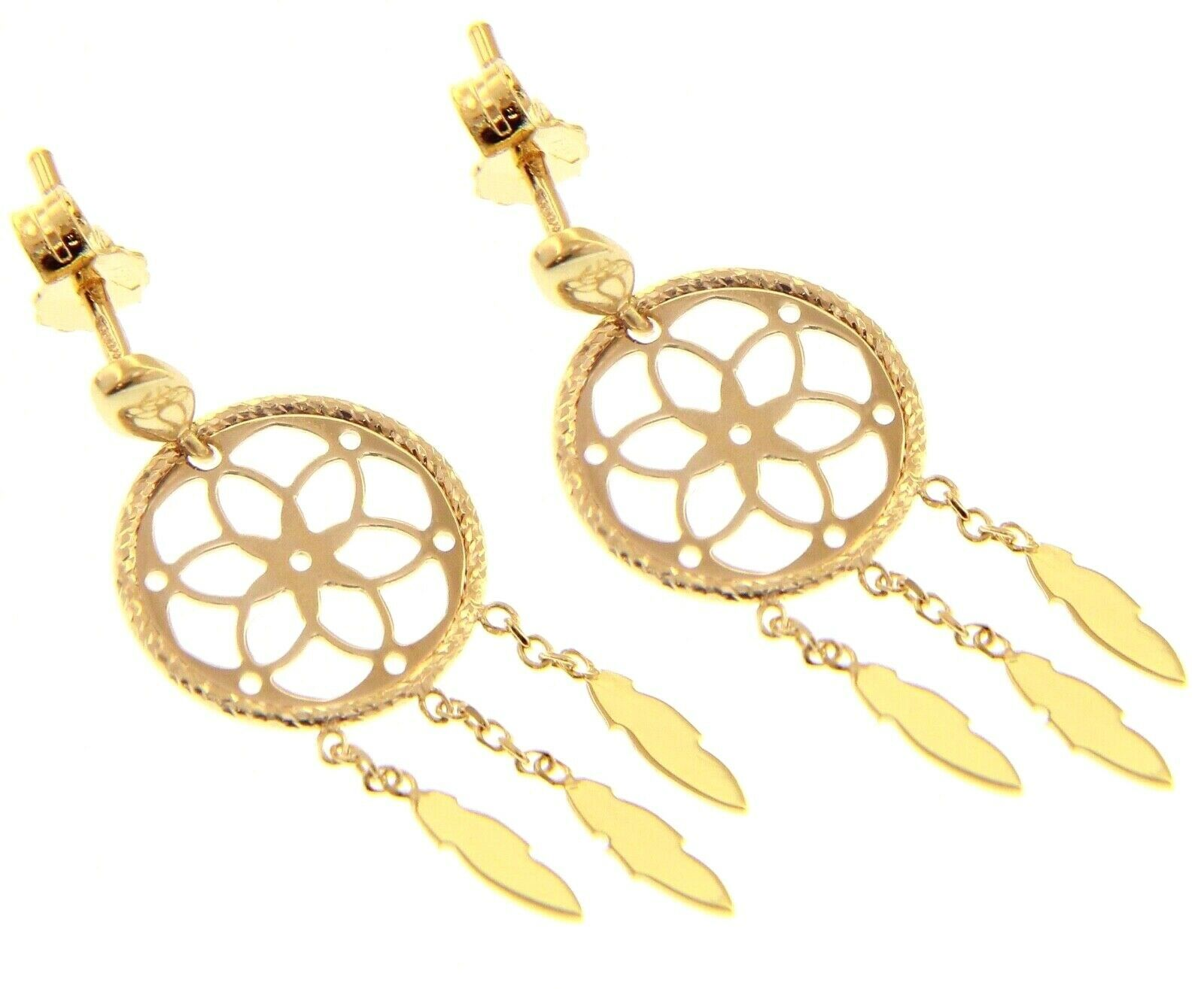 18K YELLOW GOLD DREAMCATCHER PENDANT EARRINGS, FEATHER, MADE IN ITALY, 32 MM