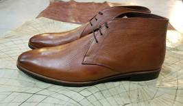 Handmade Men's Brown Leather Chukka Dress/Formal Boots image 2