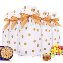 """50pcs Candy Cookies Drawstring Gift Bags 7""""×4"""", Plastic Treat Bags with Bow-Tie"""