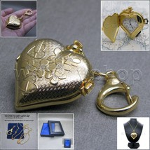GOLD color Heart Women Pendant Watch 2 Ways Key Chain and Necklace Gift ... - $12.34