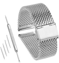 Bewish 18mm-24mm Stainless Steel 1mm Mesh Watch Band Replacement Strap ... - $30.10