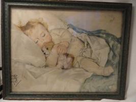 Cuddled Baby Art Print Illustration Framed - $9.99