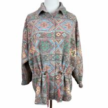 Vintage Southwestern Jacket L Womens Printed Button Up Drawstring Waist ... - $48.19