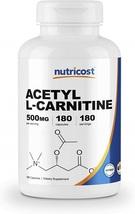 Nutricost Acetyl L-Carnitine 500mg, 180 Capsules - Non-GMO and Gluten Free - $57.63