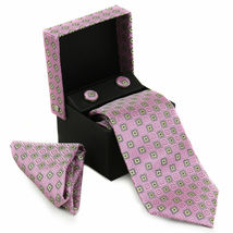 Berlioni Men's Silk Neck Tie Accessory Box Set With Cufflinks & Pocket Square image 10