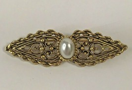 Vintage Faux Pearl Ornate Gold Tone Pin Brooch Gold Tone 1x1-32 - $20.71