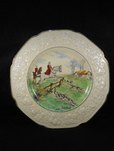 Crown Ducal Signed Florentine Hunt Scene Plate 2 Horsemen Jumping w/Hounds  - $45.49