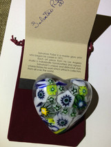 Paper Weight Large  Cast Millefiori/Crystal clear Glass Heart 31 - $29.65