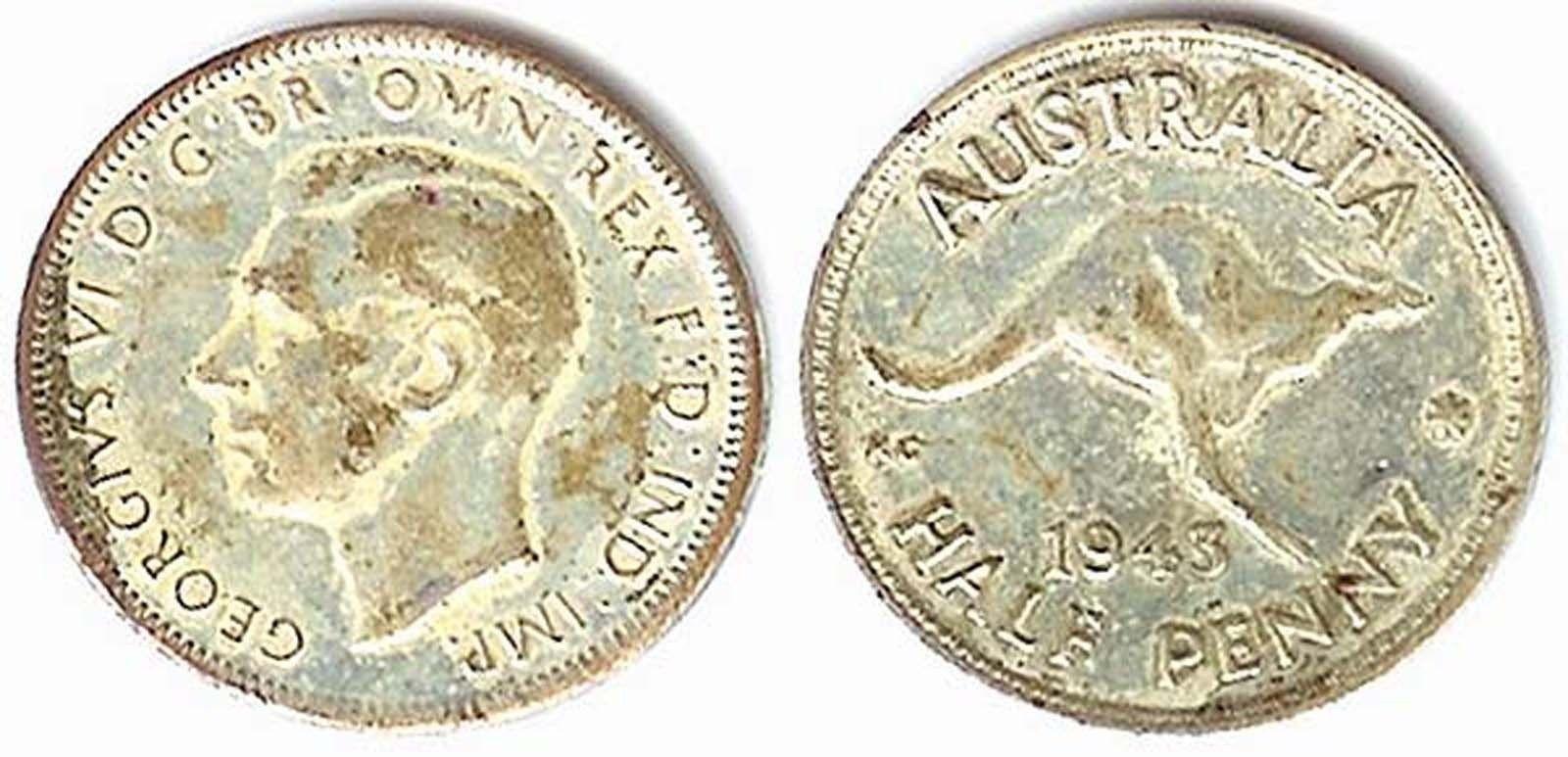 1943 George VI Australia Half Penny - $2.92
