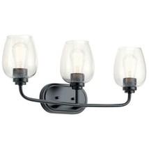 Kichler Valserrano 3-Light Black Vanity Light with Clear Seeded Glass Shade - $118.79