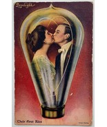 Old DB Postcard The Lovelight Couple Their First Kiss in a Lightbulb Valentine's - £10.53 GBP