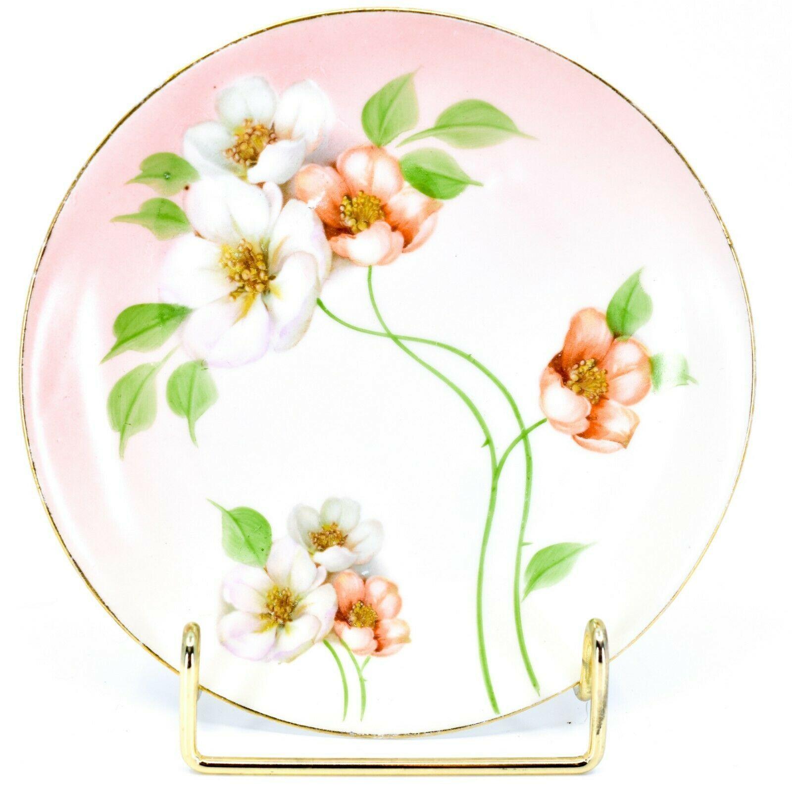"""Antique Z.S & Co Zeh Scherzer Bavaria Peach Floral Flower 6"""" Bread Dessert Plate"""