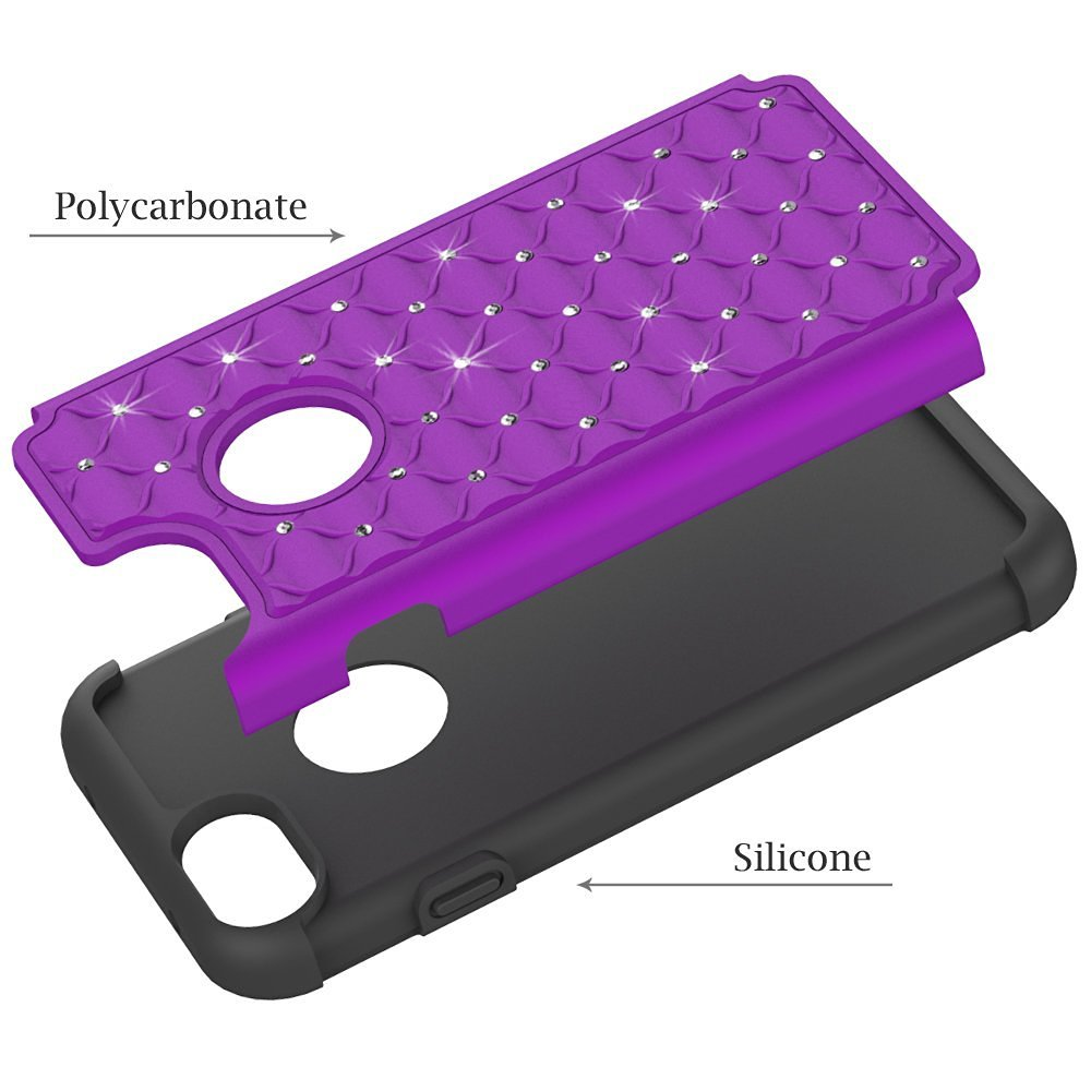 Hybrid Armor Dual Layer Protective Case for iPhone 7 4.7inch - Purple&Black