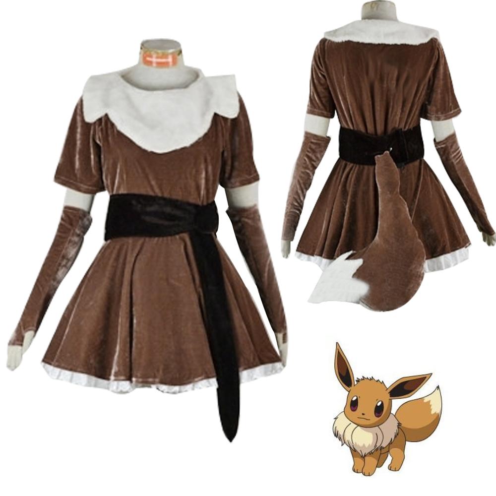 Anime Pokémon Eevee Cosplay Costume Dress Princess Party Fancy Costume