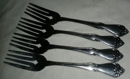Arbor Rose 1881 Rogers Oneida 4 Salad Forks Glossy Stainless Steel Flatware 2nds - $14.99