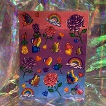 VINTAGE Lisa Frank FULL Sticker Sheet 90s Roses Hearts Butterfly Rainbow S142