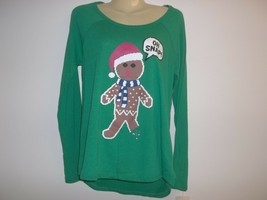 OH SNAP GINGERBREAD MAN Size Large Green Shirt Top New Womens Christmas ... - $48.51