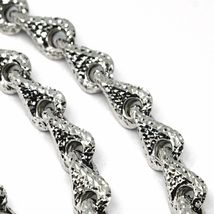 18K WHITE GOLD NECKLACE CHAIN ROUNDED DIAMOND CUT INFINITY ALTERNATE DROP 7mm image 3