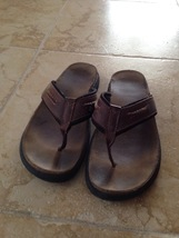 mens leather flip flops by dockers size 12 beautiful condition  - $24.99