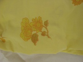 Montgomery Ward Muslin Double Fitted Sheet Floral Yellow Vintage - $9.89