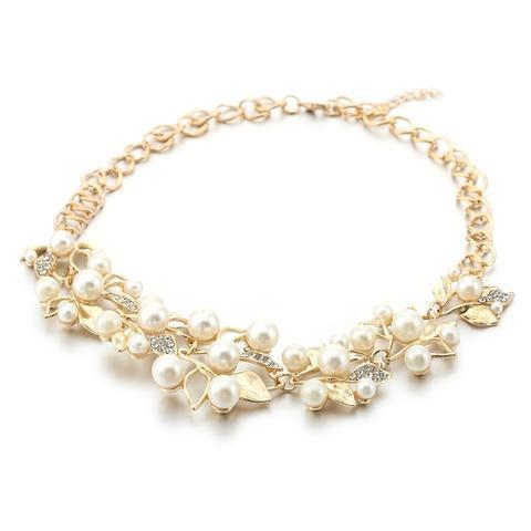 Match-Right Vintage Simulated Pearl Leaves Theme Necklace for Women image 7