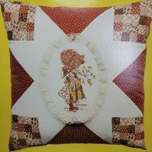 1970s Holly Hobbie Cross Stitch Kit Applique Patches Lace Pillow Cover 2... - $26.71