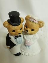 HOMCO TEDDY BEAR BRIDE & GROOM FIGURINE CAKE TOPPER #1424 - $9.50