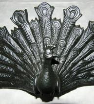 Art Noveau Style Cast Iron Peacock Door Stop image 2