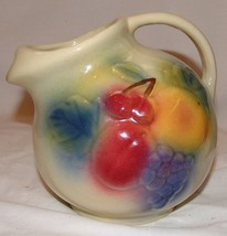 "Shawnee Fruit Ball Pitcher #80 Pottery Jug 7"" Ice Lip Spout - $38.51"