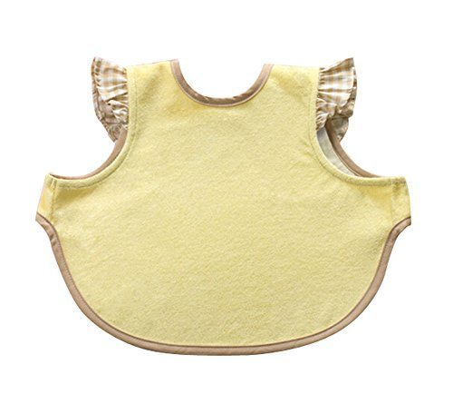 Cute Waterproof Baby Bib Bamboo Fabric Baby Feeding Smock YELLOW, 6-36 Months