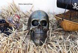 Pottery Barn Rustic Silver Skull Candle -NIB- Shed Some Light On Frightful Fun! - $29.95