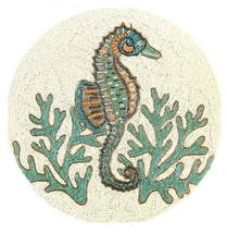"""Coastal Collection 15"""" Seahorse Turquoise Coral Beaded Charger Placemat ... - $69.18"""