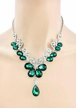 Waldgrün Kristalle Abend Zierliche Blümchen Halskette Ohrringe Set Hochzeit - $29.93