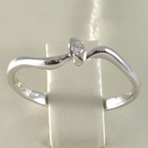 White Gold Ring 750 18K, Solitaire Wave with Diamond, CT 0.03, Made in Italy image 2